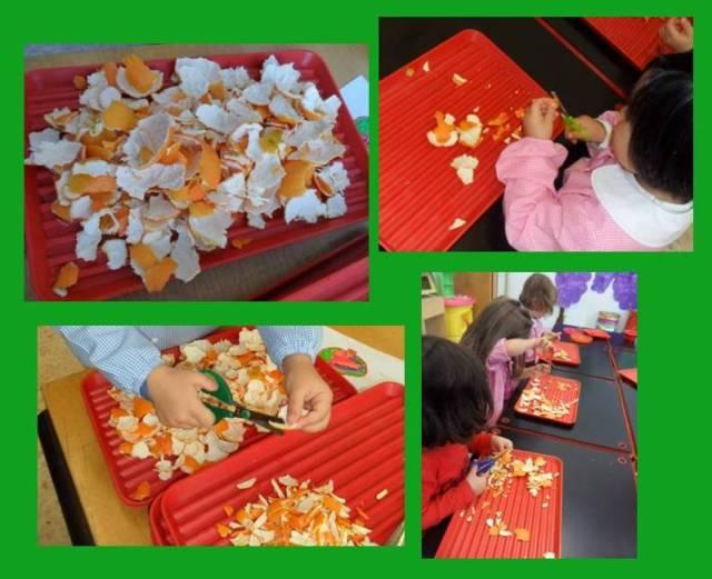tagliare le bucce di mandarini